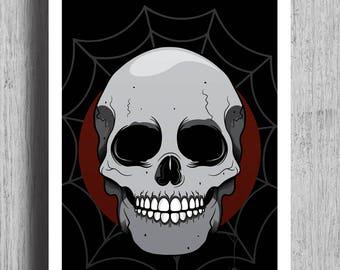 HEAD HUNTER Poster Print   Skull Prints   Tattoo Art   Skull Poster Artwork    Skull Wall Hanging   Skull Wall Art   Skull Poster   A1   A4