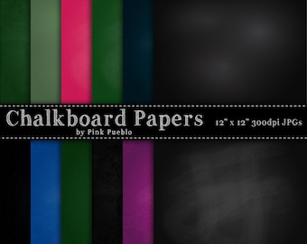Chalkboard Digital Printable Papers Scrapbook Papers or Backgrounds - Commercial and Personal Use