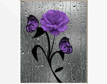 Purple Wall Art, Purple Rose Flower Butterflies, Purple Bathroom Powder  Room Wall Art Matted Picture