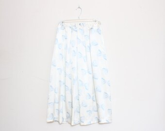 VTG 80s High Waist Silky Satin Bow White Blue Skirt M/L
