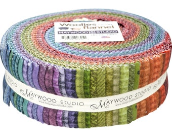 """Woolies -FLANNEL Jelly Roll - 2.5"""" strips (40) - Maywood Studio - by Bonnie Sullivan - Colors - C"""