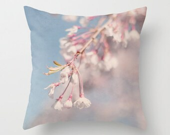 Throw Pillow Cover Spring Cherry Blossoms Floral Pink Blue White Shabby Chic Cottage Photo Case Couch Sofa Bed Home Bedroom Decor