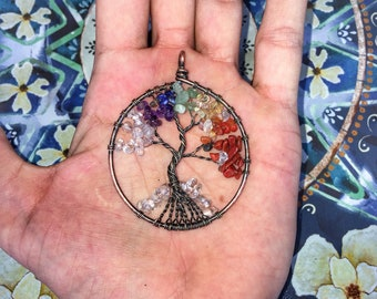 Tree of Life - Chakra Necklace Pendant - With Real Stone