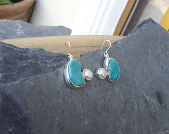 No. 109 Castle Dome Turquoise and Pearl Dangle Earrings in .950 Sterling Silver