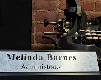 """Custom Desk Plate - Black Metal Holder w/ Choice of Insert Color - Black Metal Name Plate - Personalized Name Plate - 2.25"""" X 10"""""""