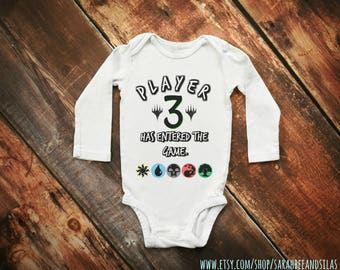 Magic The Gathering Funny Baby Onesie / Player 3 Has Entered The Game  / MTG Baby Clothes / Magic The Gathering T-Shirt / MTG Kid Toddler