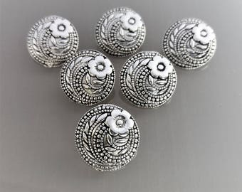 6 round buttons 17mm metal color darkened silver