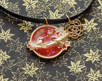 Red Cherry Blossom Bird Scene Choker Necklace