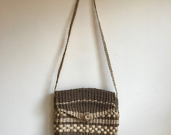 Vintage Brown and Cream Straw Crossbody Shoulder Bag Purse