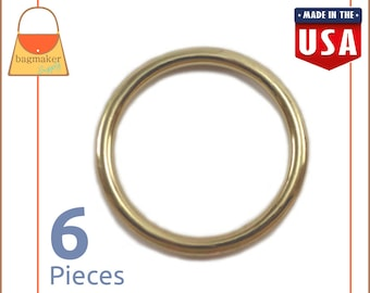 "1-1/4 Inch O Rings, Cast Solid Brass, 6 Pieces, Handbag Purse Bag Making Supplies Hardware, 1-1/4"", 1.25 Inch, 1.25"", RNG-AA130"