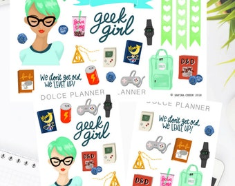 Geek Girl Stickers- Happy Planner/Passion Planner/Filofax/Bullet Journal/Traveler's Notebook/MAMBI Stickers