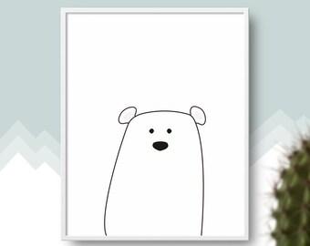 Little Polar Bear #1 PRINTABLE Art, Cute Animal Poster, Monochromatic Wall Art, Nursery Print, Nordic Style, Modern Baby Kids Room Decor