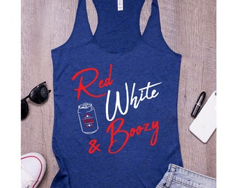 Memorial Day Drinking Tank Top - Womens Red White & Boozy Tank Top - womens drinking tank top.