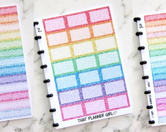 GLITTER - INDIVIDUAL SHEETS - ThatPlannerGirl Sticker Binder - Functional Rainbow Sticker Sheets - Punched to fit the discbound arc system