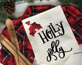 holly jolly red and black plaid christmas/ Christmas wall decor/ christmas decoration/ wall hanging/ farmhouse christmas/ christmas sign