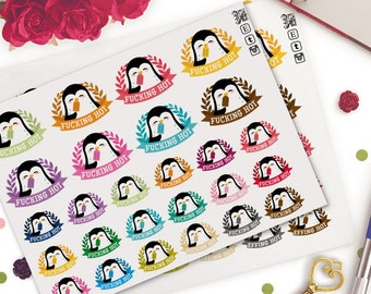 Penguins Hot Weather Planner Stickers |  Animals | Cute | Swear Words  | Summer | Beach