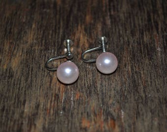 Vintage 1950s Faux Pearl Blush Earrings. Screw Back. Excellent Condition.