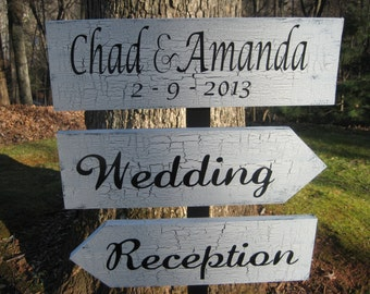 Direction Sign, Wedding Directional Sign, Personalized Wedding Sign, Shabby Chic Wedding, Wood Wedding Sign, Reception Sign
