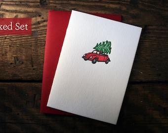 Letterpress Printed Volkswagen Bug Christmas Cards