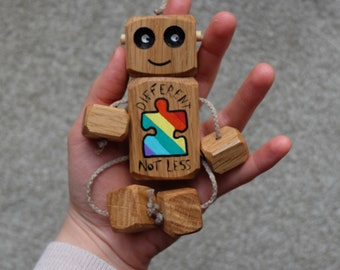 Autism awareness Ned / wooden robot / wooden toys / wooden toy / handmade toy / for children