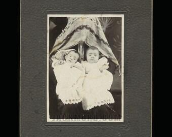 unusual antique photo hidden mother & id'd Missouri Cartwright twins - genealogy