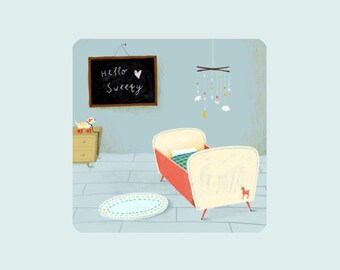 Hello sweety, illustrated card, welcome baby card