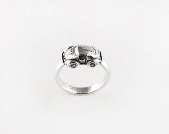 Vintage Volkswagen Beetle Sterling Silver Ring