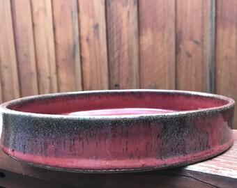 red baking dish - wheel thrown pottery - ceramic