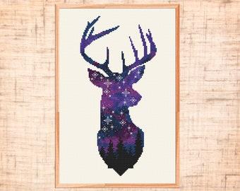 Space deer cross stitch pattern Animal cross stitch Galaxy Forest cross stitch Night sky embroidery Woodland Animal Counted Cross Stitch PDF