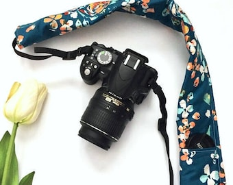 Teal Floral Camera Strap Cover, Floral Camera Strap Cover,  Padded Camera Strap, Gift for Her, Gift Under 20, Photography Accessory