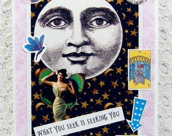 What You Seek Is Seeking You Card -Full Moon Card-Moon and Stars Card-Moon Goddess Card-Fairy Card-Mystical Card-Moon Magic-Full Moon Card