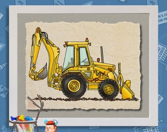 Kid Construction Art Backhoe Tractor Whimsical yellow digger print adds to kids room construction zone as 8x10 or 13x19 wall decor