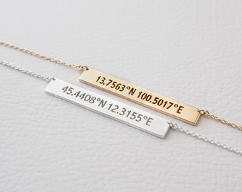 Personalized Cut-out Coordinates Necklaces - Custom Coordinates Necklace - Latitude Longitude Jewelry PN37