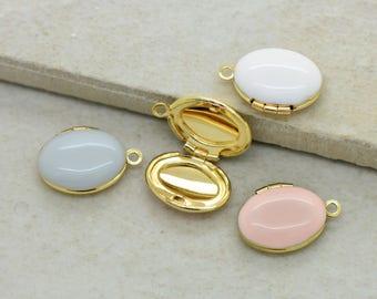 1 - Miniature Enamel Locket 10mm Oval Locket Gold Brass Picture Locket Vintage Style Pendant Charm Jewelry Supplies (AS045)