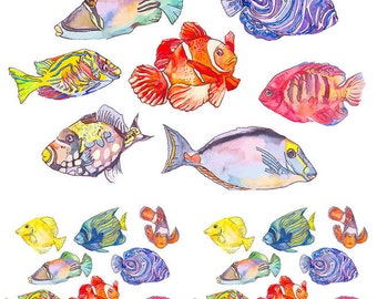 Cooler Fish - Ceramic Decals- Enamel Decal - Fusible Decal - Glass Fusing Decal ~ Waterslide Decal - 369868