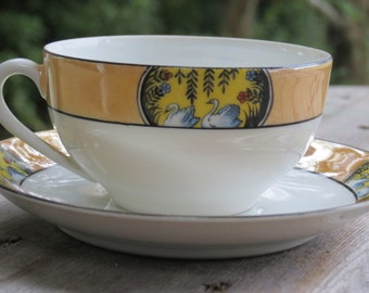 "Tea cup and saucers with ""SWAN"" pattern./china cup and saucer/ made in Japan/ vintage teacup nd saucer"