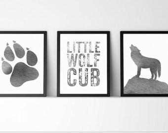 Baby boy,Nursery Decor,nursery,wolf cub,wolf print,wildlife art, wolf,quote,watercolor,gray nursery,little cub, gift for baby,digital print