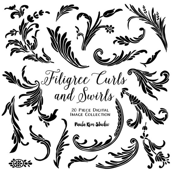filigree swirls and curls flourish clipart vector wedding rh etsy com vector filigree border vector filigree corners