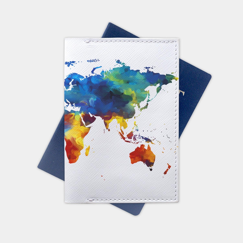 World Map Passport Holder.World Map Passport Cover Leather Wallet Passport Holder