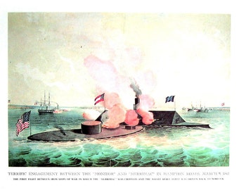 Currier and Ives Print - Engagement Between Monitor and Merrimac, Storming of Fort Donelson Tennessee - 1968 Vintage Book Page - 12 x 9