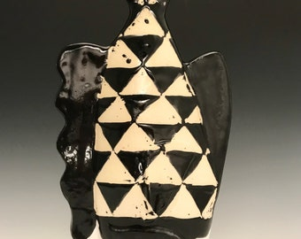 Ceramic Soul Fish: Modern Geometric Design; Black and White Triangle Fish