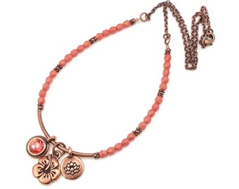 Beach Jewelry Copper and Coral Glass Beaded Charm Necklace with Hibiscus Flower and Lotus Charms - Romantic Summer Tropical Floral Boho Chic