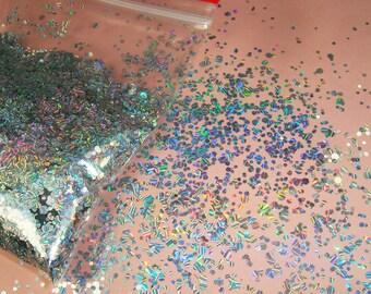HSL-3100M Strip Laser Silver Mix Hexagon Flake Spangle Shape nail glitter for nail Gel polish acrylic Makeup decoration