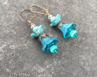Turquoise and Teal Czech Glass Flower Whimsical Boho Dangle Earrings   Wedding Jewelry  Woodland Earrings
