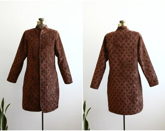 Brown Diamond Pattern Reversible Coat | Velvet Dress Coat | Winter Box Coat | Cocoon Coat [ Medium ]
