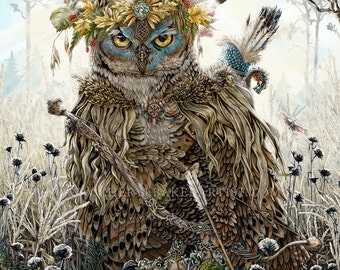 owl decor owl art great horned owl owl wall art woodland cottage - Picture Of Owl
