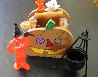 Vintage Lot of Halloween Decorations, Halloween Crafts, Jack O Lantern, Witch & Cauldron, Ghost Ring, Wooden Pumpkin Planter