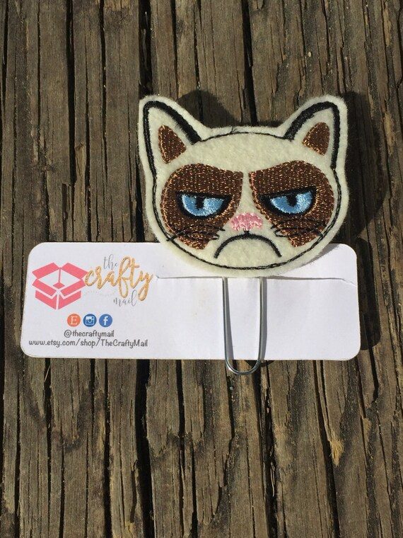 Mean Cat Clip/Planner Clip/Bookmark. Cat planner clip. Mad Kitty Planner Clip