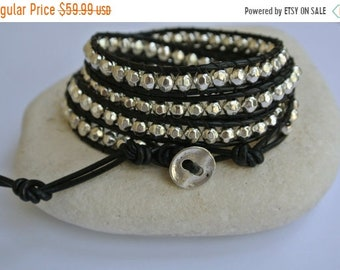 SALE 50% OFF Silver Pewter Beaded Leather Wrap Bracelet