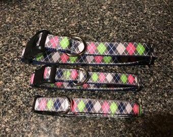 Argyle Plaid Dog Collar